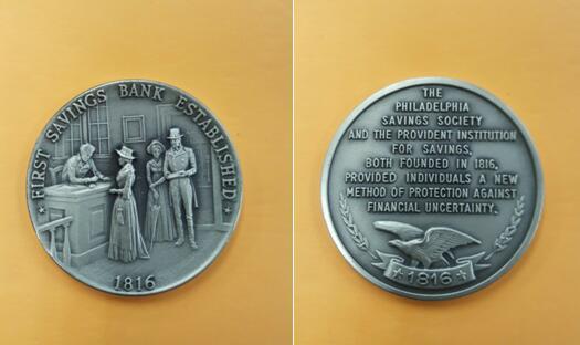 美国首家储蓄银行——美国费城储蓄银行1816年成立时的纪念铜章