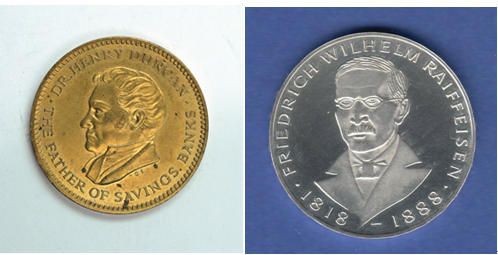 左图为1960年发行的英国信托储蓄银行纪念铜章,章上人物为英国储蓄银行之父亨利•邓肯博士;右图为1968年为德国合作银行之父赖夫艾森诞辰150周年发行的纪念币