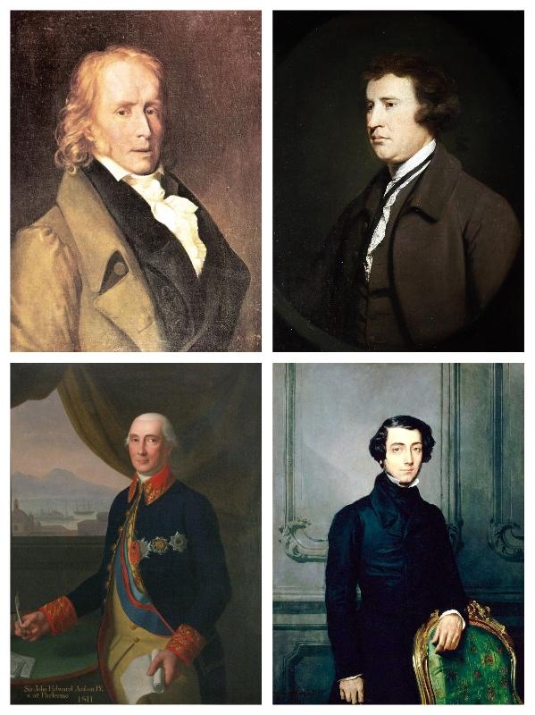 上:本杰明·贡斯当(Benjamin Constant,1767~1830)、埃德蒙·柏克(Edmund Burke,1729~1797)  下:阿克顿勋爵(Lord Acton,1834~1902)、阿历克西·德·托克维尔 (Alexis-Charles-Henri Clérel de Tocqueville,1805~1859)