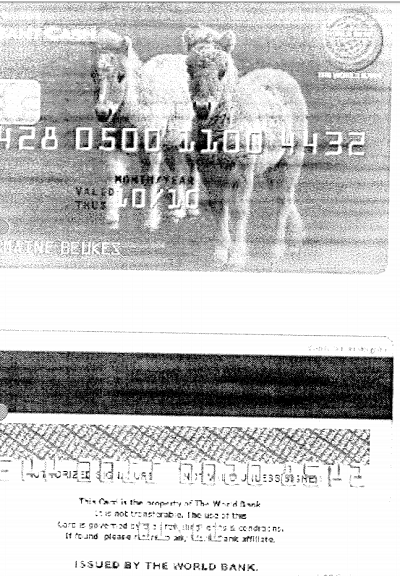 诈骗者伪造的假世行银行卡     来源:世行
