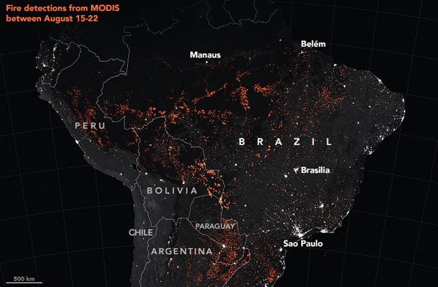 美国国家航空航天局(NASA)的卫星系统观察到的南美火情(8月15日-22日),火点多数位于亚马逊