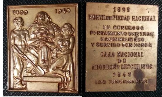 1949年发行的乌拉圭国民储蓄银行成立50周年(1899-1949)纪念铜章