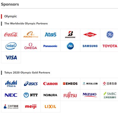 东京奥运的TOP赞助商和黄金赞助商名单。来源:东京奥组委官网