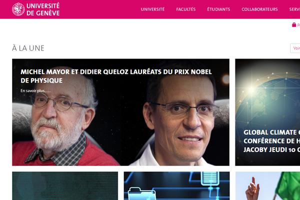 日内瓦大学官网首页上也迅速出现了两位科学奖获奖的消息。