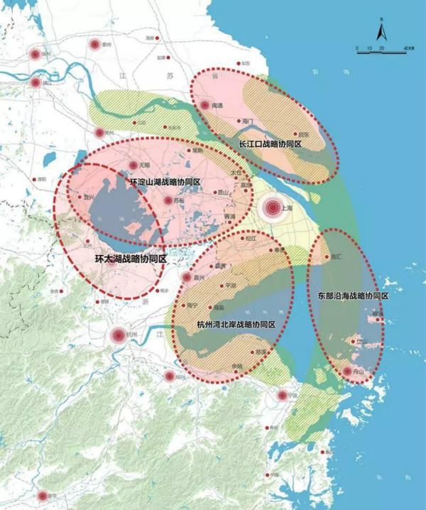 """上海大都市圈规划协同-5大空间板块示意图(来源:""""上海规划资源""""公众号)"""