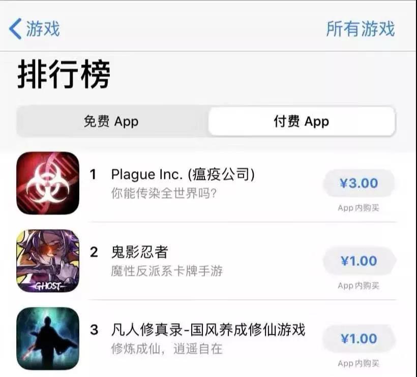 《瘟疫公司》登上App Store付费游戏榜的榜首。