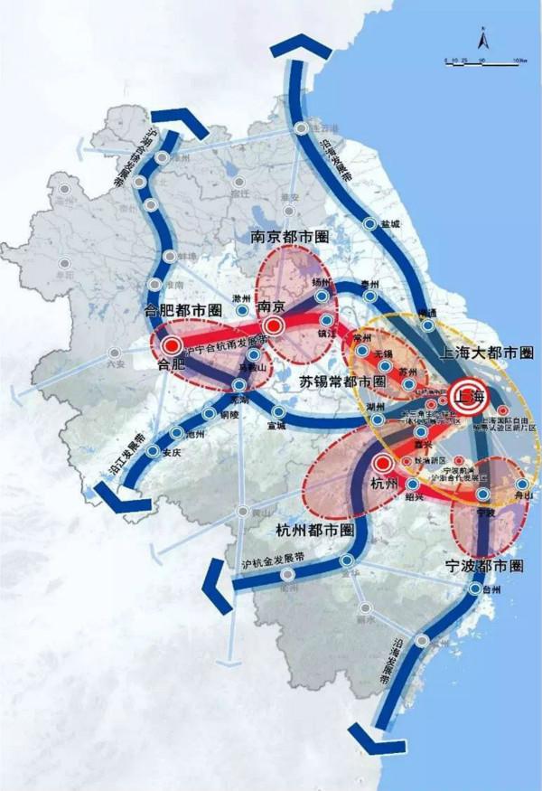 """""""一核五圈""""的网络化空间格局示意图(来源:""""上海规划资源""""公众号)"""