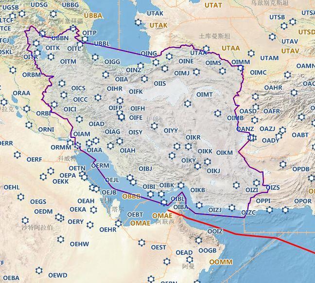 红线为东航飞迪拜的航路