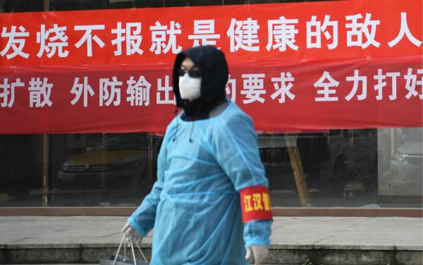 2月9日,一位防控志愿者在武汉市江汉区唐家墩街西桥社区准备进行查访工作。新华社图