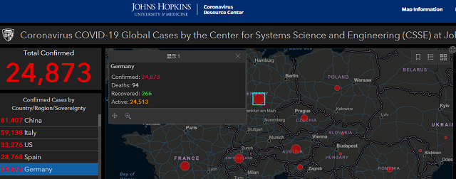 新冠疫情实时统计数据                    来源:美国约翰斯·霍普金斯大学官网