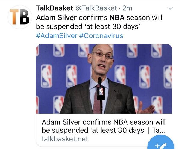 戈贝尔、米切尔相继确诊,NBA将停摆至少30天