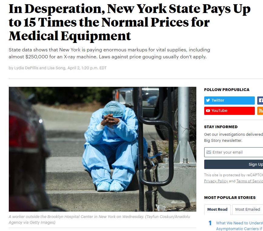 """""""疫情告急 美国纽约州15倍高价采购医疗器材"""