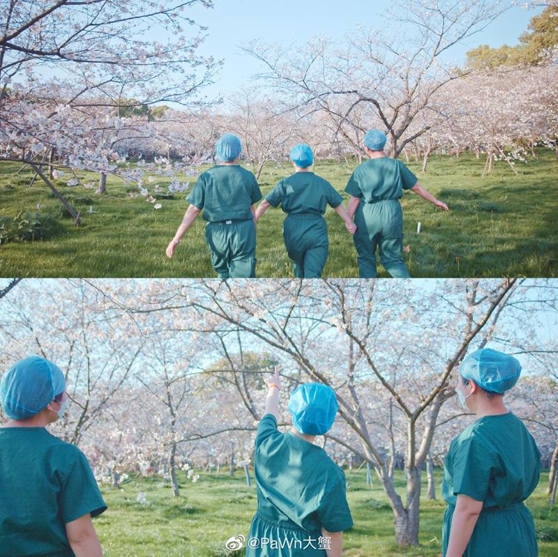 《樱你重启》画面中,医护人员走到户外,迎向花海。  图/8KRAW