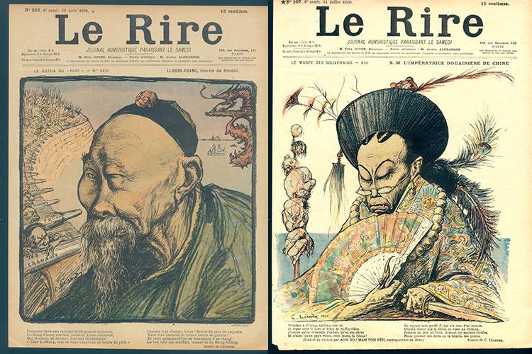 左:直隶总督李鸿章,莱昂德尔先生绘制。1900年8月18日,法国《笑报》。右:清国太后殿下。1900年7月14日,法国《笑报》。