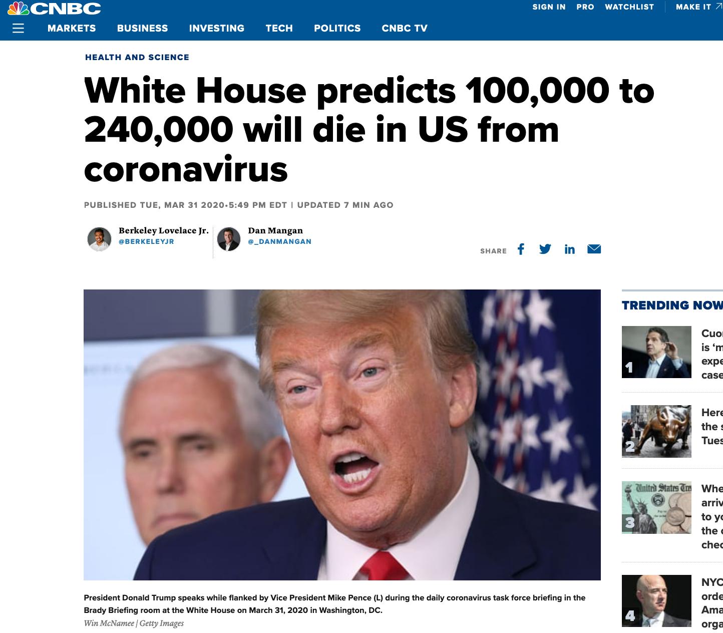 CNBC报道截图