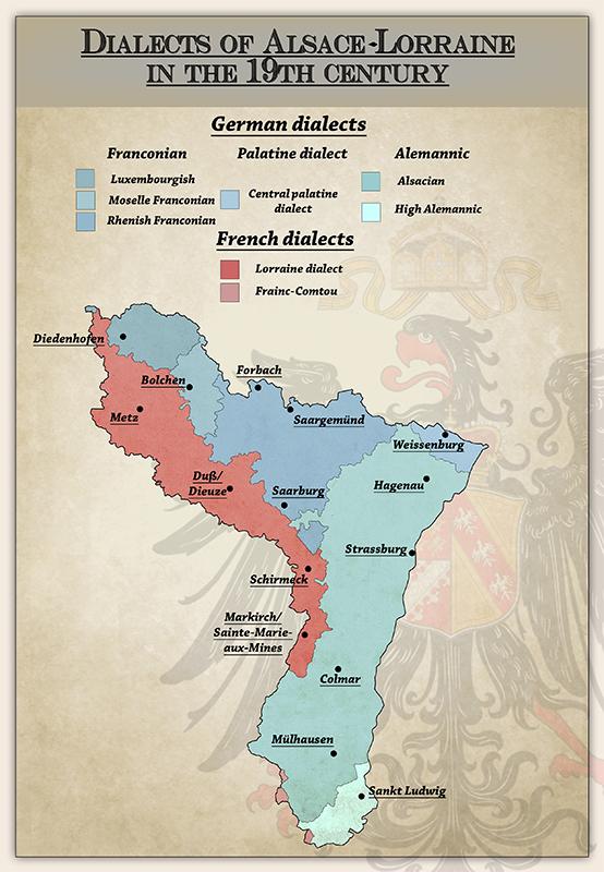 19世纪阿尔萨斯-洛林地区的法语和德语方言分布