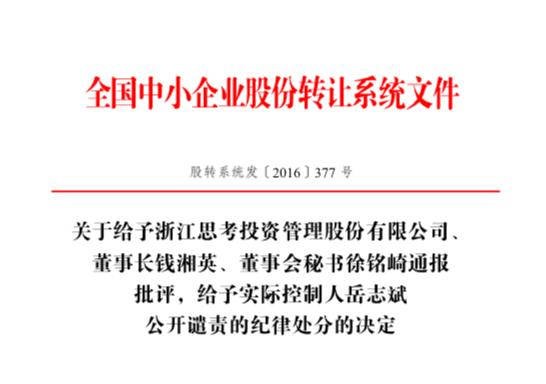 全国股转公司纪律处罚决定(资料来源:全国股转公司网站)