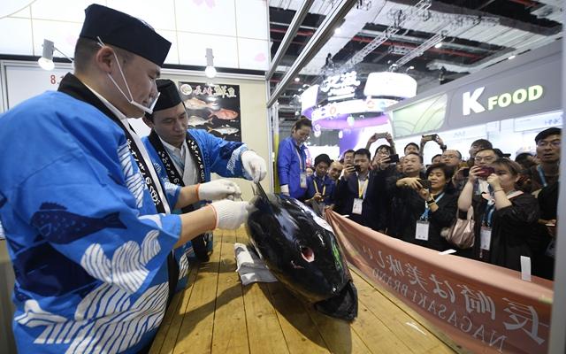 进博会上,来自日本长崎鱼市株式会社的专业切鱼师傅为解体70公斤蓝鳍金枪鱼做准备。新华社资料