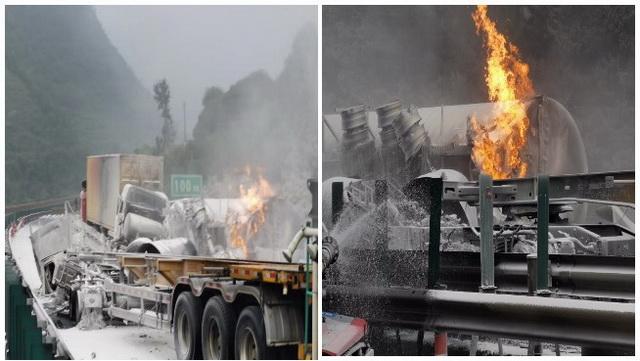 2020年6月7日晚,一辆装载21吨液化天然气的危险品槽罐车在G1512(甬金高速)发生碰撞,致液化天然气槽罐车侧翻、泄漏并起火。