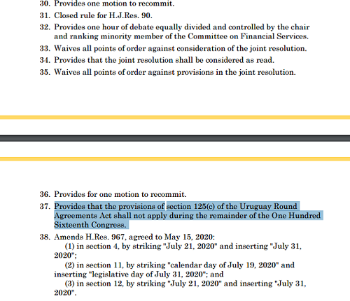 美国众议院规则委员会以以9票对4票通过了一项规则,其中包括38项内容,而第37条即为《1994乌拉圭回合协议法》第125节(C)在本届国会剩下的时间内都不适用
