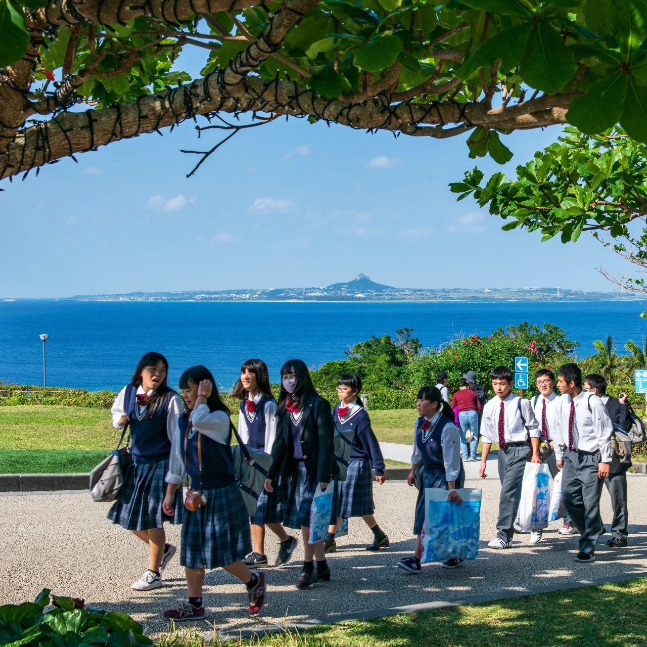 △日本学生修学旅行时穿着制服的模样。| 图片来源:视觉中国