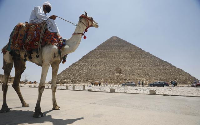 7月1日,别名外子在埃及开罗的吉萨金字塔景区骑骆驼。新华社