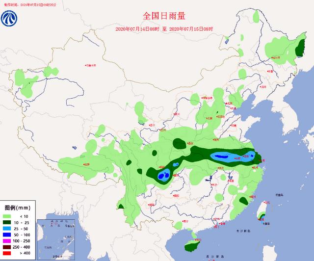 全国水雨情信息 7月14日8时至7月15日8时 原料来源:水利部