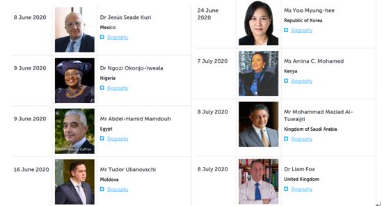 WTO新总做事8位候选人                                               来源:WTO官网