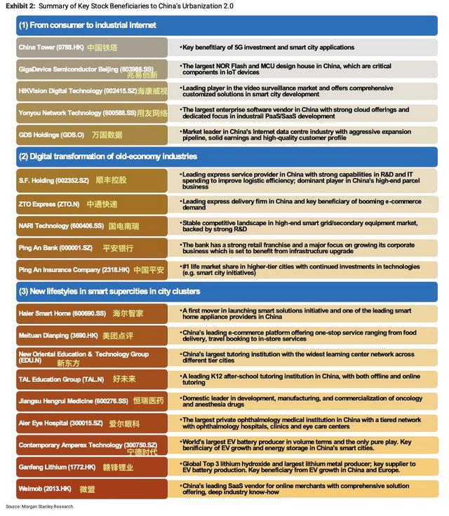 城市化2.0受益公司名单(资料来源:摩根士丹利)