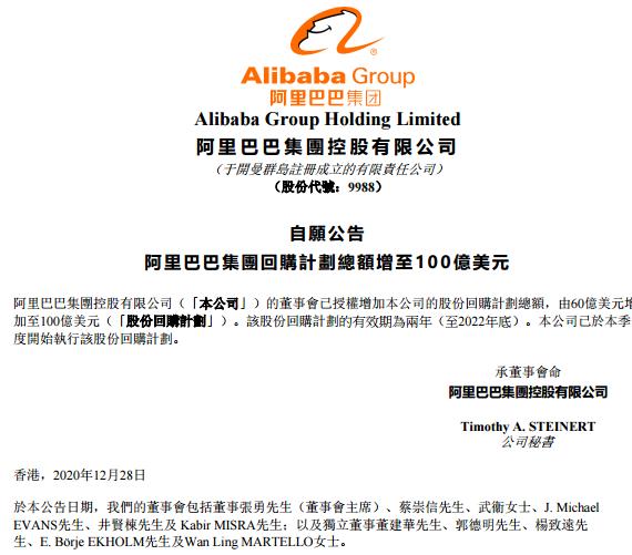阿里巴巴股份回购计划由 60 亿美元增加至100亿美元