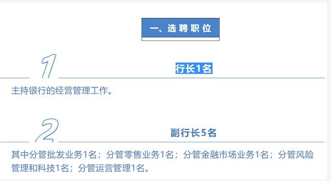 公开选聘职业经理人,渤海银行大手笔招正副行长6名