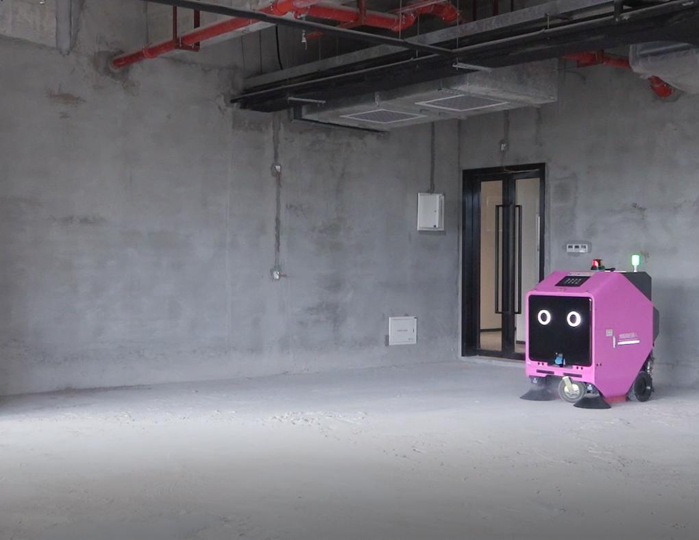 楼层清洁机器人在作业