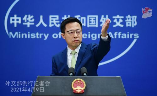 外交部发言人赵立坚在记者会上答问。来源:外交部网站