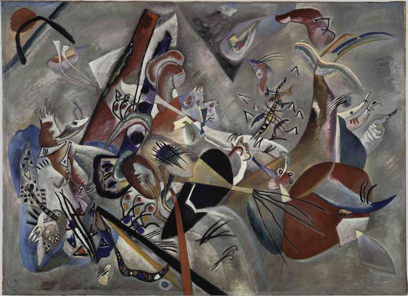 瓦西里·康定斯基,《灰色之中》,1919年,布面油画