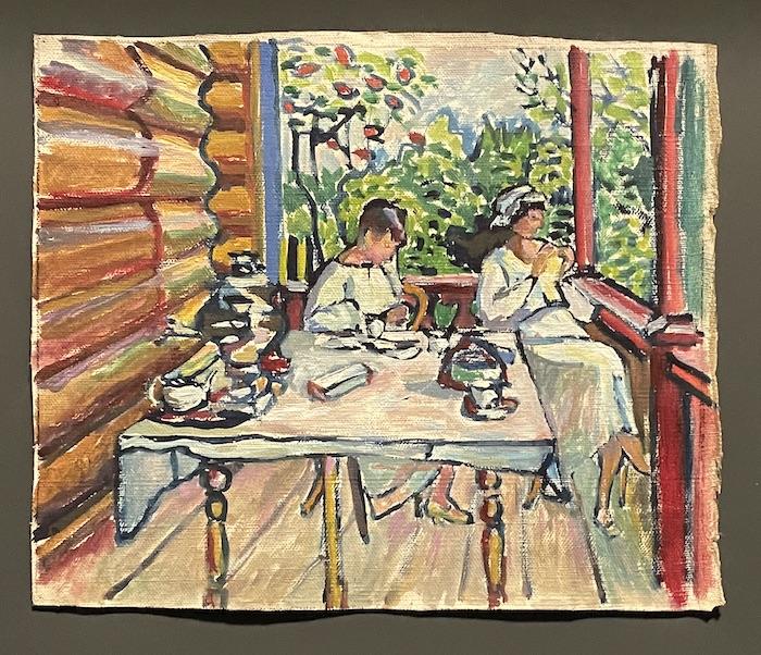 康定斯基,《阿赫特尔卡——在前廊上的尼娜和塔蒂亚娜》,1917