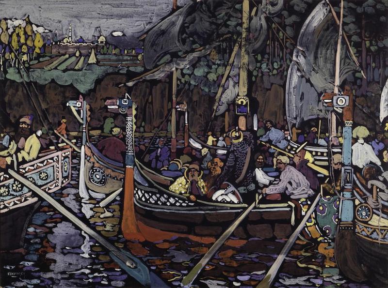 瓦西里·康定斯基,《歌》,1906年,光面纸板蛋彩