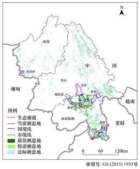 普洱与西双版纳亚洲象栖息地与规划的生态廊道 资料来源:《普洱市亚洲象栖息地适宜度评价》