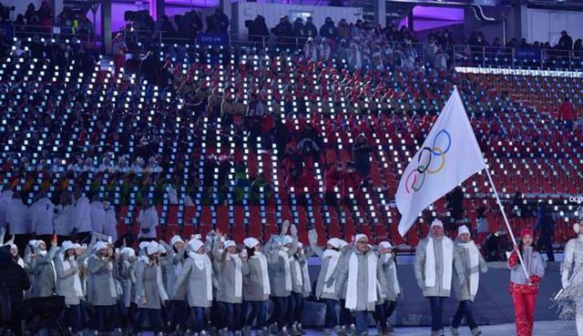 东京奥运会开幕式上俄罗斯奥运队入场