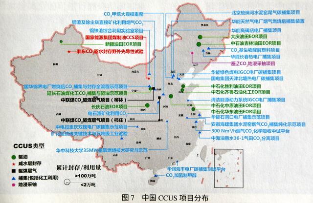 中国CCUS项目分布图。资料来源:碳达峰碳中和研究中心