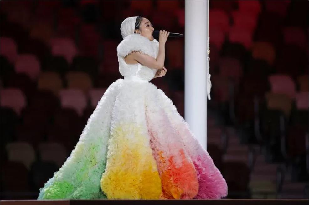 △ 歌手 Misia 为东京奥运会开幕式领唱日本国歌。图片来源   Getty Images
