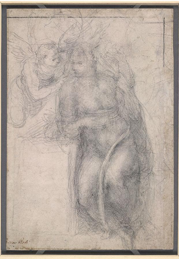 米开朗基罗《天使报喜》,黑垩,(1542至1546年)