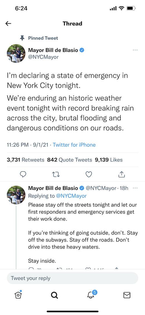 纽约市长白思豪在社交媒体上宣布城市进入紧急状态。