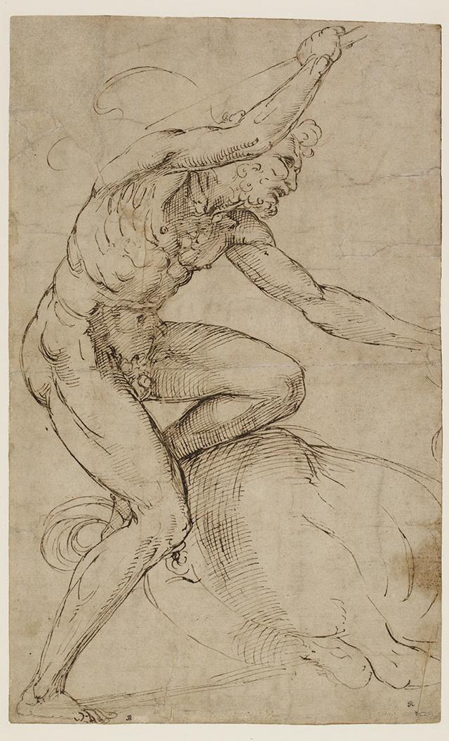 拉斐尔《赫拉克勒斯与半人马》,硬笔棕墨绘于浅灰褐色特制纸上,(1505至1508年)