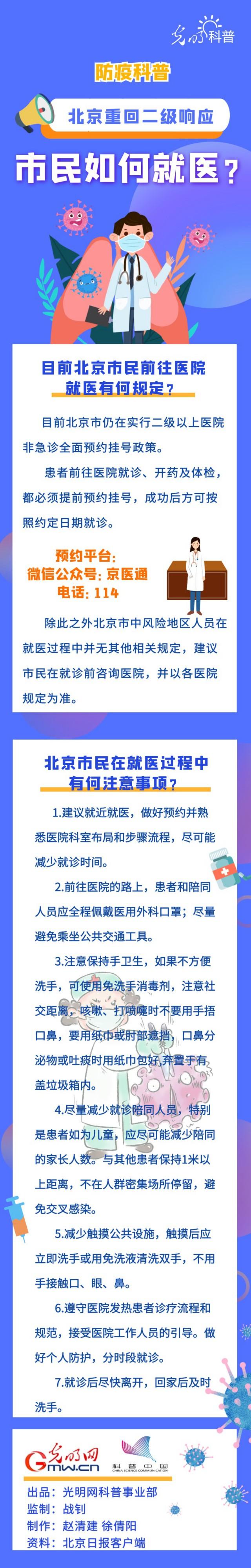 【防疫科普】北京二级响应状态下 市民如何就医?